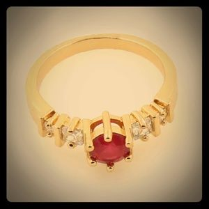 Gold & Red Ruby Ring Size 8.5